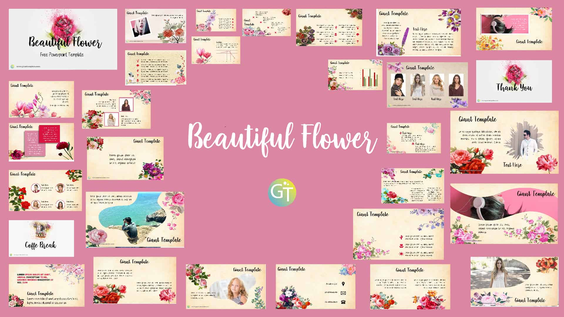 Beautiful Flower Free Powerpoint Template – 30 Slide
